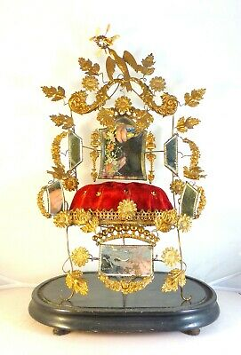 "21"" Large Antique French Gold Gilt Ormolu Brides Wedding Crown Tiara Chair Globe"