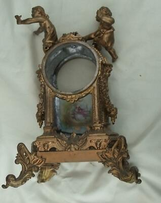Antique Gilt French Figural Clock Case With Porcelain Panel