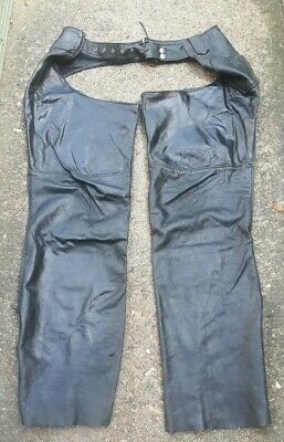 "Distressed LEATHER RIDER Black Full Chaps Biker Riding Waist 30"" up to 34"""