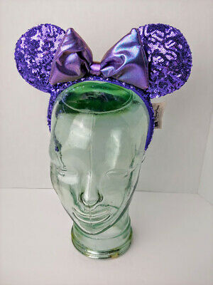 Disney Parks Purple Potion Sequin Iridescent Mickey Minnie Ears Worn Once