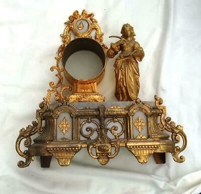 Antique French Spelter And Alabaster Figural Clock Case