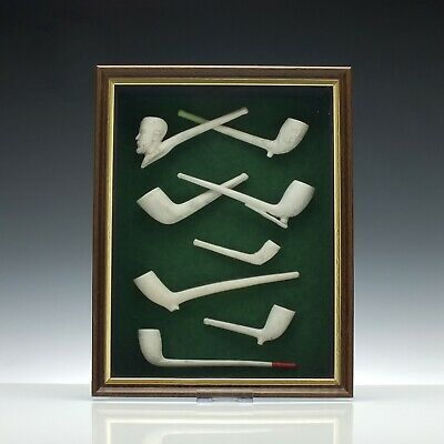 Antique Georgian A Collection of Clay Pipes in a Wooden Frame