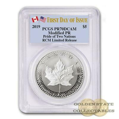 PRESALE 2019 RCM SILVER Maple Leaf Pride of 2 Nations PR70DCAM PCGS FDOI 10K MTG