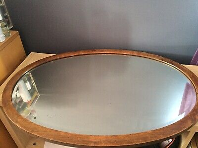 Old Antique Vintage Oak Framed Bevelled Edge Mirror With Chain Heavy!