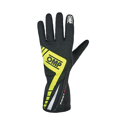 OMP FIRST EVO MY16 Racing Gloves Yellow (homologation FIA) s. L