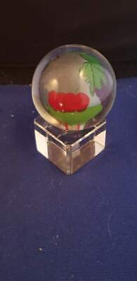 "Reverse Painted Sphere Grape Apple Mouse Glass Ball Globe 1.5""D w/ Base"