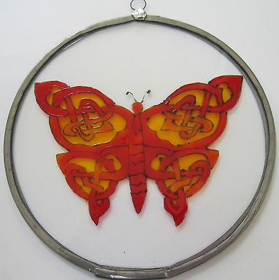 Suncatcher - Celtic Design - Celtic Knot Butterfly in reds, oranges and yellows