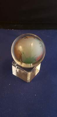 "Reverse Painted Sphere Cow Grass Fence Glass Ball Globe 1.5""D w/ Base"