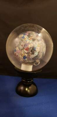 "Reverse Painted Sphere Children Playing Glass Ball Globe 4""D w/ Wood Base"