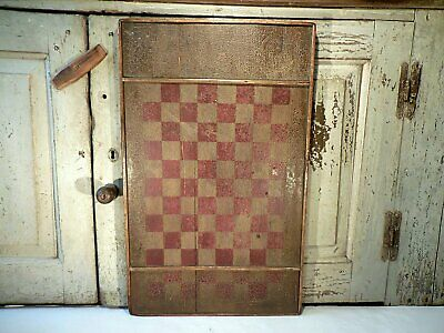 AAFA Primitive Painted Wood Gameboard Antique Checkers Board Original Paint