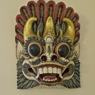 Hanuman Large Vintage Mask Wood Carved and Painted Wall Art from Bali