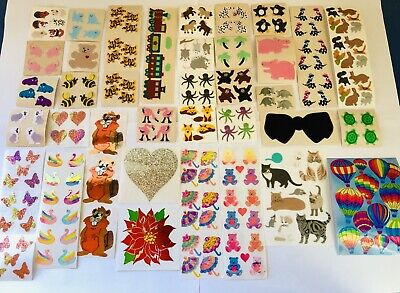Huge Rare Vintage Sandylion Stickers Collection Lot Fuzzy Brown Backing, Glitter