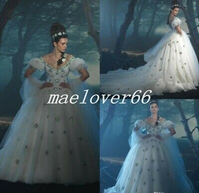 Sequins Ball Gown Puffy Sleeve Wedding Dress Luxury Princess Cinderella Dresses