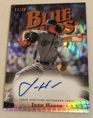 2019 Topps Finest Blue Chips Josh Hader On Card Refractor Auto 63/99 BREWERS