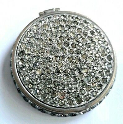 Antique Miniature Double Vanity Compact With Diamante & Mirror Bottom. See!
