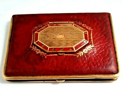 Vintage Art Deco MONDAINE Triple Vanity Compact in RED Leather. SEE!
