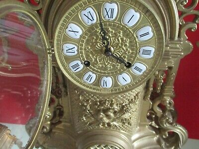 Antique French 8 Day Run And Chime  Mantle Clock Set With Candleabras