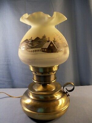 1978 Fenton Hand Painted Custard Glass Hammered Metal Lamp Winter Church Scene