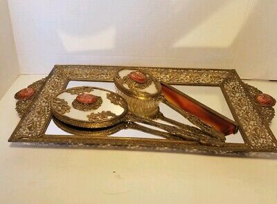Vintage/Antique~RARE~4 Pc Jeweled Ormolu Vanity Dresser Set~Gold Filigree~Glass!