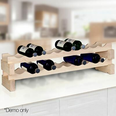 Stackable Wooden Wine Rack 20-Bottle Holder Display Stand Timber Space Saving