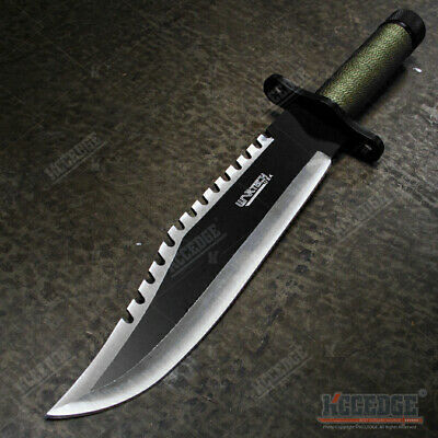 """15"""" Two Tone Blade Rambo Survival Hunting Knife with Survival Kits"""