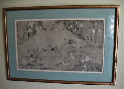 """Antique 18th Century or Older Chinese Scroll Painting on Silk """"Procession"""""""