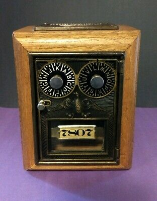 Post Office Double Dial Bank Combination Lock Box Old Thyme Reproduction