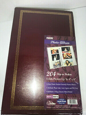 Pioneer Scrapbook Album Burgundy Red & Gold STC-204 Holds 204 4x6 Photos