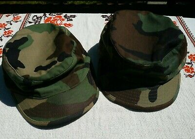 US Military Issue Army Woodland Camo BDU Patrol Cap Hat Size 7  AND 7 5/8