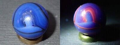 Vintage Marbles Auction Christensen Agate CAC Blue UV Reactive Swirl 39/64""