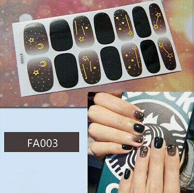 Full Cover Nail Polish Stickers 3D art Tips Sky Star Decor DIY Decals Wraps