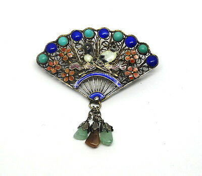 Antique Chinese Jade Gold Gilt Silver Filigree Fan Enamel LOVE BIRDS Brooch Pin