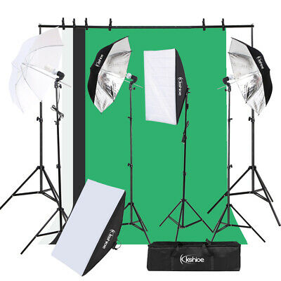 Photo Studio Photography Continuous Lighting Kit Non-woven Backdrop Stand Set