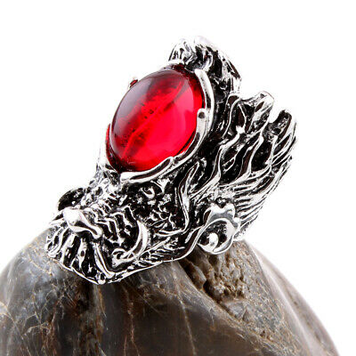 Men Charm Stainless Steel Ruby Dragon Head Design Ring Punk Adjustable Jewelry