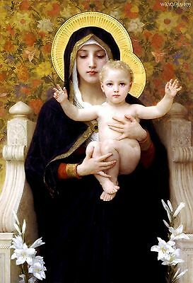 The Virgin of the Lilies by William Bouguereau Christ Child Religious 19x13