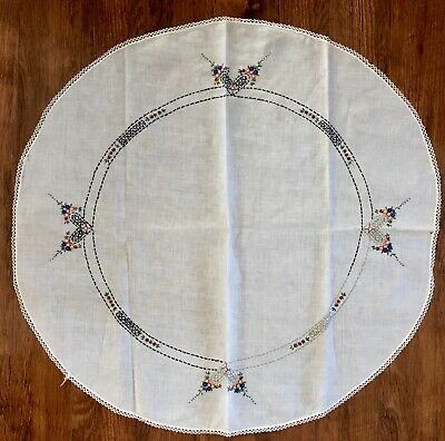 """Vintage Linen Round Tablecloth Hand Embroidered 34 1/2"""""""