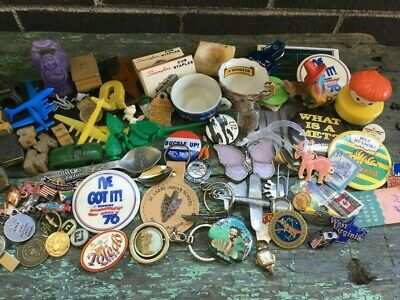 Mixed Lot Vintage Junk Drawer Eclectic Smalls Pins Military Planes Kracker Jack