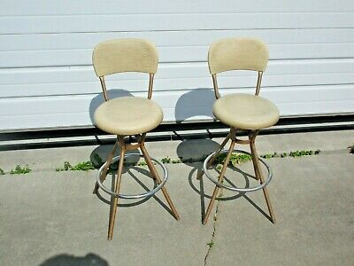 2 vintage Hamilton Cosco Swivel Hourglass Bar Kitchen Stools good used shape NR