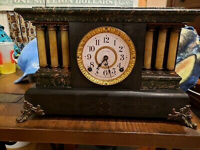Antique Seth Thomas Adamantine 6 Column Mantle Clock with Lion Head Handle