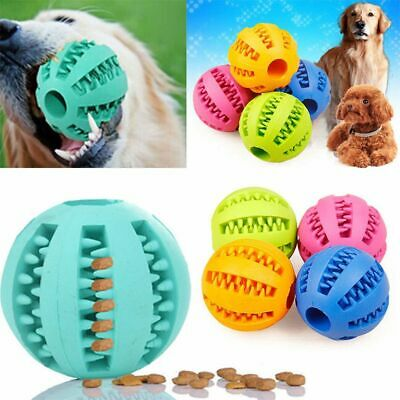 Rubber Ball Chew Pet Dog Puppy Clean Teething Dental Healthy Treat Toy