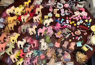 Huge Lot 40+ Vintage 1980s My Little Pony Ponies, Accessories And Play sets