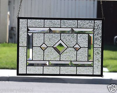Stained Glass Window-DIAMONDS-Stain Glass Panel, Clear glass, Beveled, Art Glass