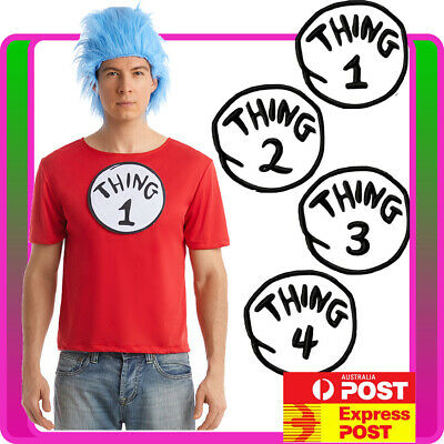 Mens  Costume Dr Cat In The Book Week Adult Tshirt Wig