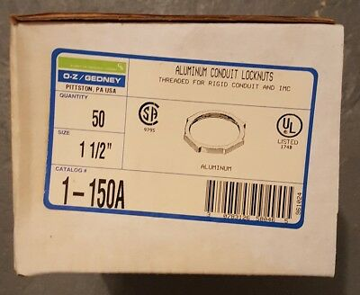 "BOX OF 50 - OZ Gedney 1-150A Locknut, Size: 1-1/2"", Material: Aluminum BRAND NEW"