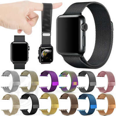 Para Apple Watch 42 44 38 40mm Magnético Milanese Loop Banda de acero inoxidable