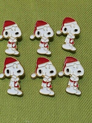 6 Collectable set Peanuts buttons snoopy Christmas santa JHB Collection