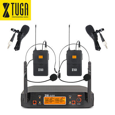 XTUGA GLXD8 Wireless Microphone System UHF 2 Channel 2 Dynamic Mics with case