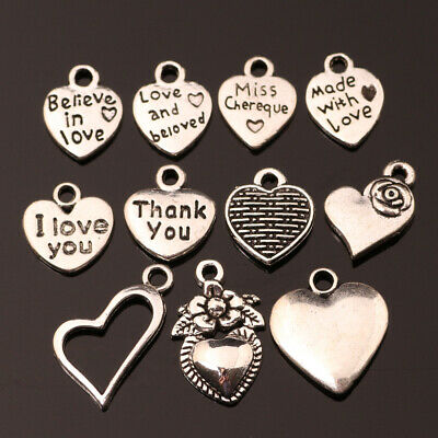 60pcs Tibetan Silver I love volleyball Pendants Charms For Jewelry Making FA765
