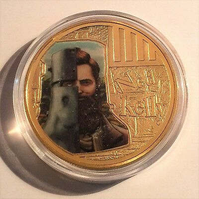 """NED KELLY """"Helmet Art #1"""" 1 Oz Coin, Finished in 24k 999 Gold 5 to collect, Gift"""