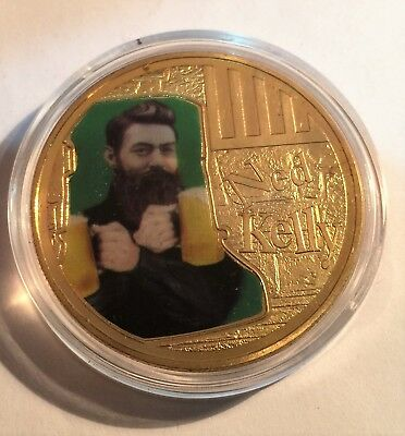 """NED KELLY """"Helmet Art #4"""" 1 Oz Coin, Finished in 24k 999 Gold 5 to collect, Gift"""